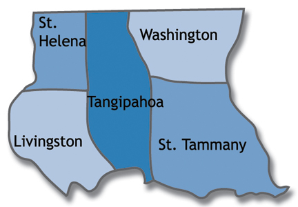 map of Livingston, St. Helena, St. Tammany, Tangipahoa and Washington parishes in Louisiana
