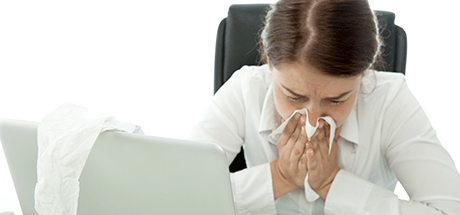 Professional Woman suffering from sinus nasal drip