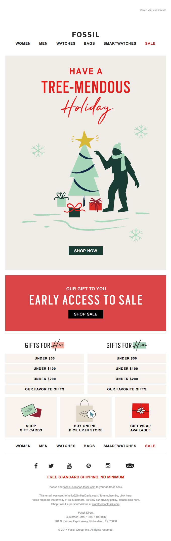 Heavily designed e-commerce email for a frashion brand
