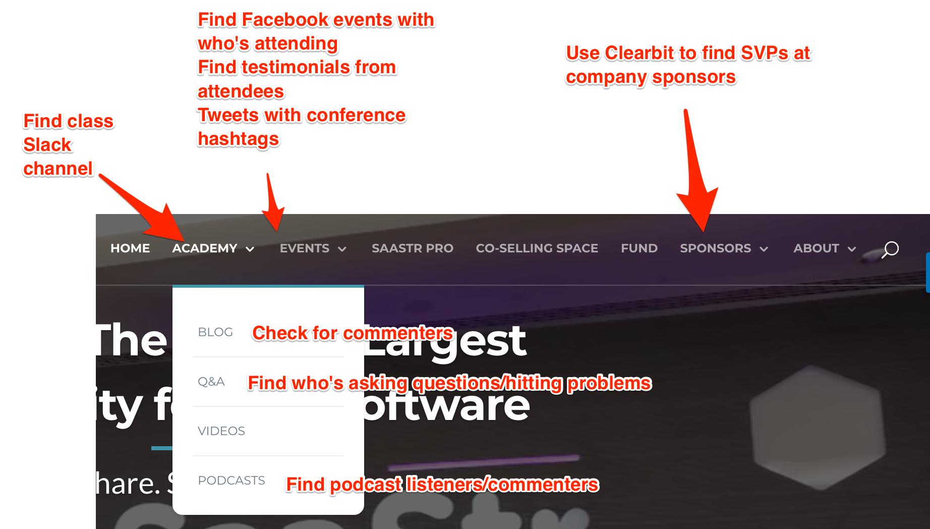Use websites to find key prospect information.