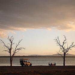 Sundowners next to Lake Nzerakera