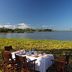 Breakfast setup next to Lake Nzerakera