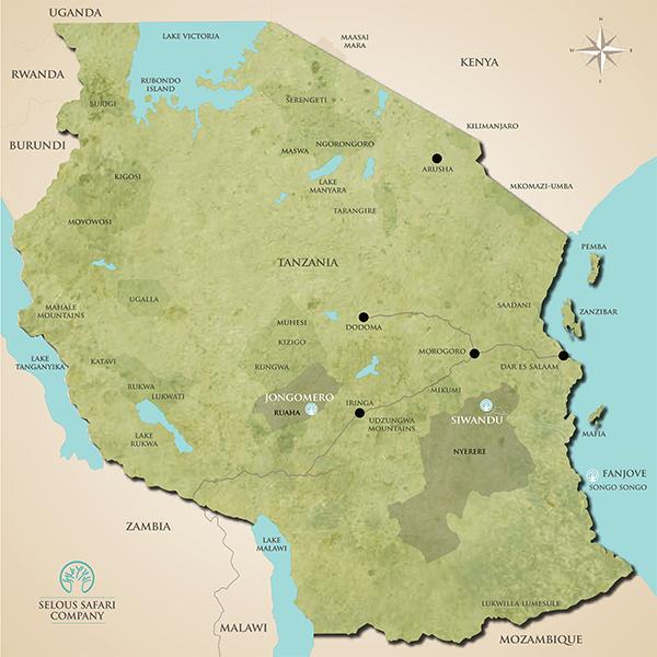 Selous Safari Company portfolio map Tanzania