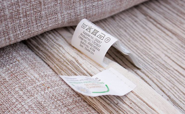 cleaning tags and labels on furniture