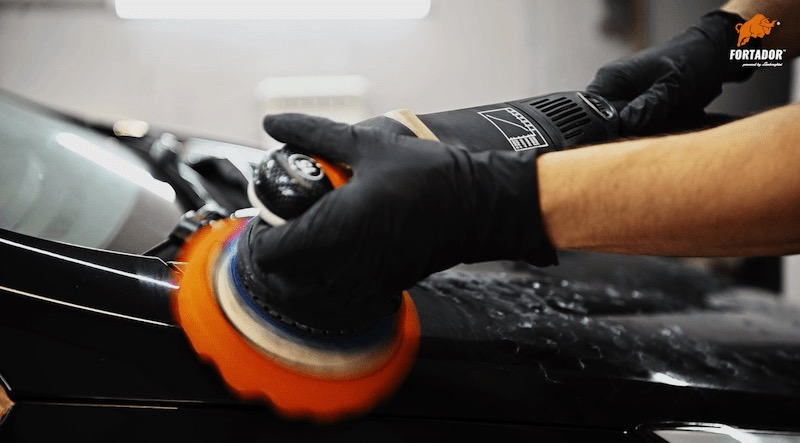 polishing of car paint to remove imperfection before installation of ceramic car coating
