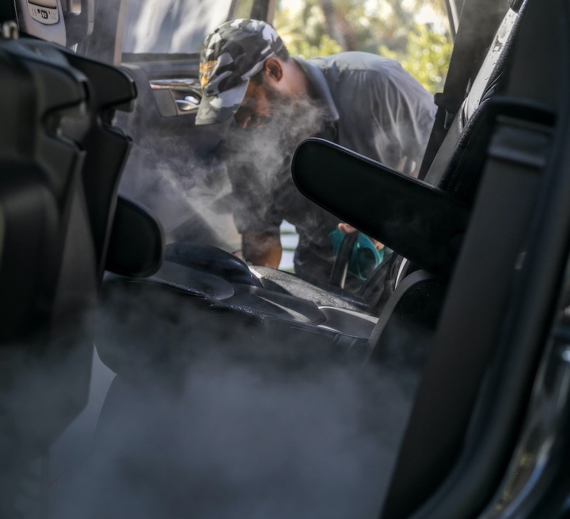 car interior cleaning with steamer