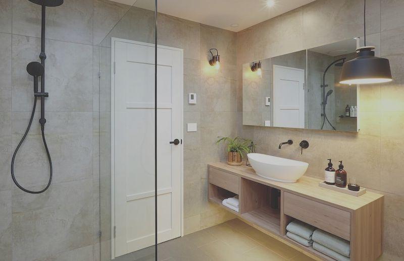 bathroom sink and shower walls