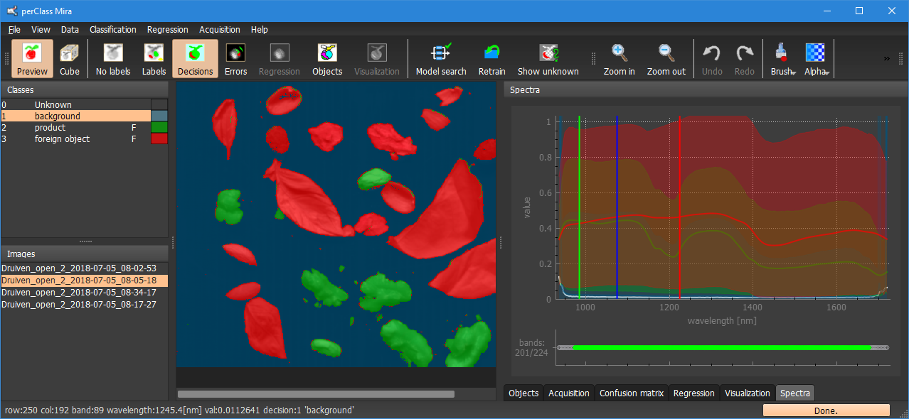 Interactively created classification solution for hyperspectral data