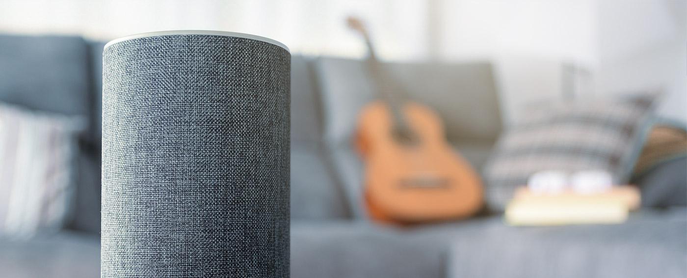 Closeup of an Amazon Alexa Device