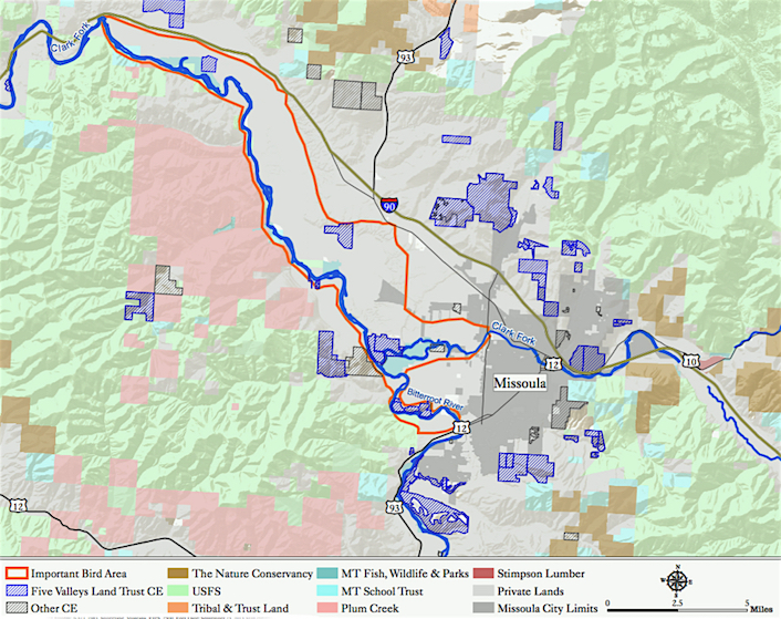 A map of the Clark Fork RIver-Grass Valley IBA and surrounding protected lands