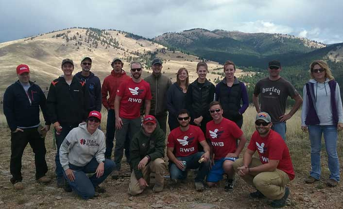 The Team Red, White and Blue and Team Rubicon veteran volunteers on the South Hills Spur.