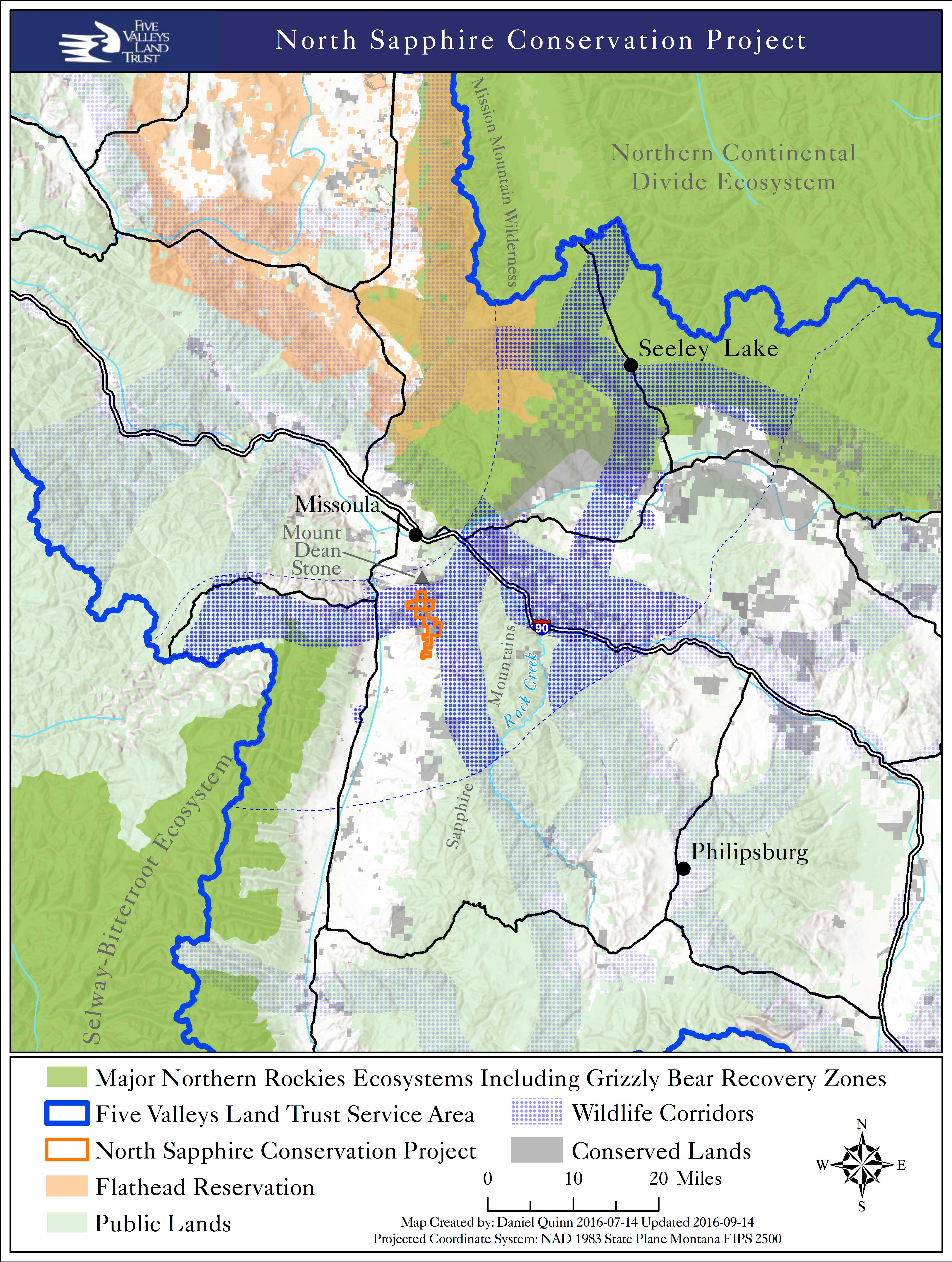 A map of the Northern Sapphires Conservation Project. Map by Five Valleys GIS staff.