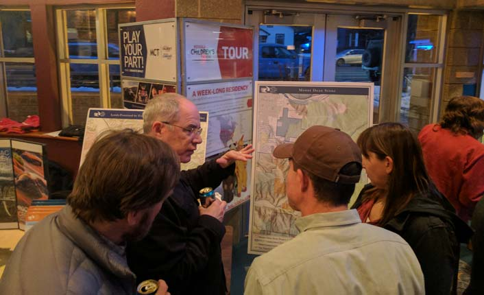 Community members ask Five Valleys' Stewardship Director, Ryan Chapin (second from right), questions about our Mount Dean Stone project.