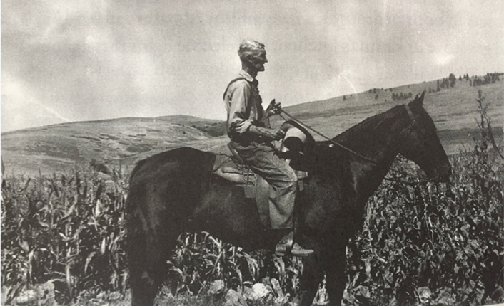 Bill Randoph on his horse. Photo courtesy of the Moon-Randolph Homestead.