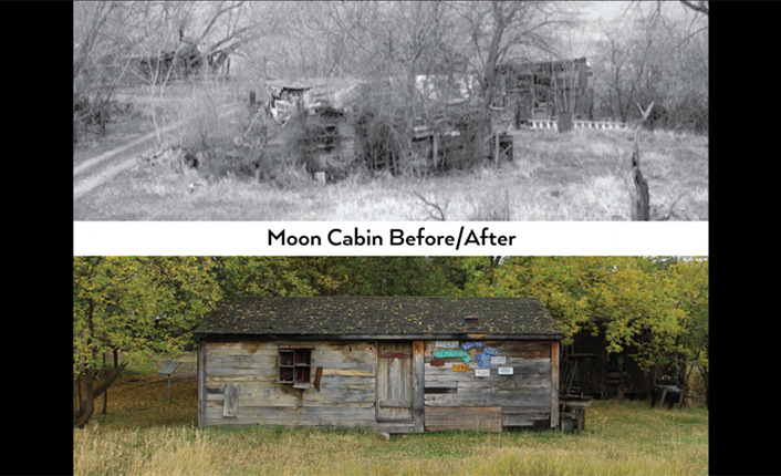 The Moon Cabin, before and after preservation. Photo courtesy of the Moon-Randolph Homestead.