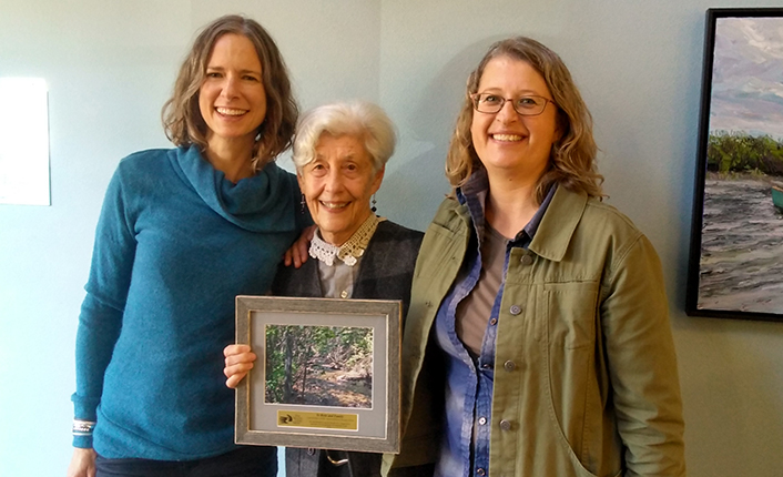 Betty Thisted with Vickie Edwards, Five Valleys' project manager, and Pelah Hoyt, Five Valleys' Land Director, at her project's closing celebration. Photo by Five Valleys staff.