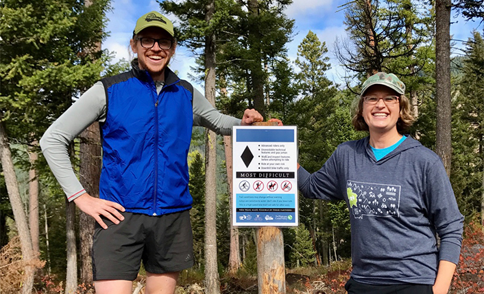 MTB Missoula's Executive Director, Ben Horan, and Five Valleys' Lands Director, Pelah Hoyt, celebrating a trail opening. Photo by Five Valleys staff.