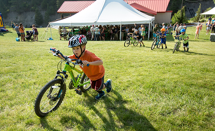 A young mountain biker at Marshall Mountain. Photo by Tom Robertson.