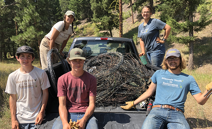 Missoula County Youth in Restoration crew members at the Confluence. PHoto by Five Valleys staff