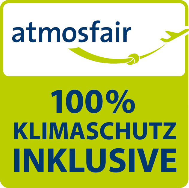 atmosfair logo 100% Klimaschutz inklusive