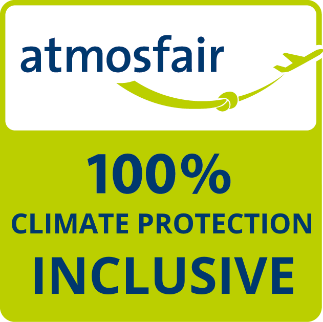 atmosfair logo 100% climate protection inclusive