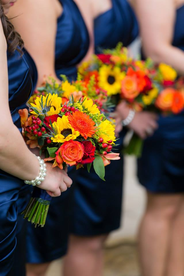 Wedding Bouquet with Yellow and Orange Flowers