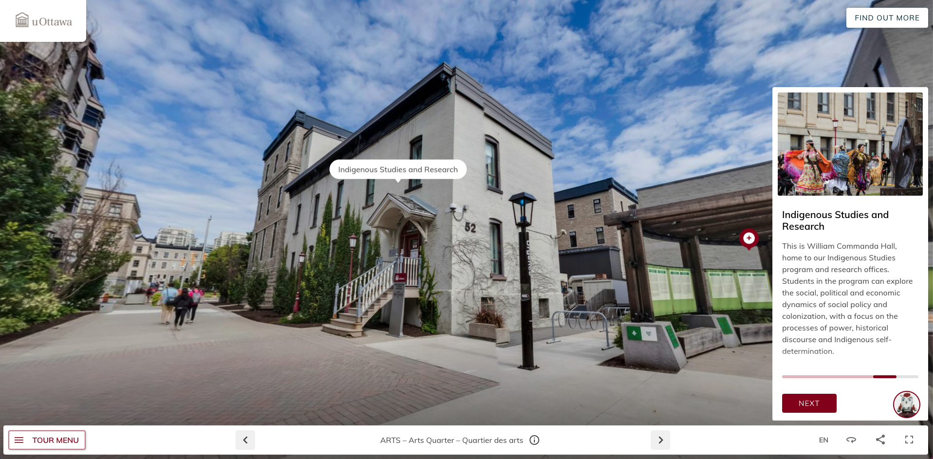 Screenshot from uOttawa's virtual tour. Shows the Indigenous Studies and Research building.