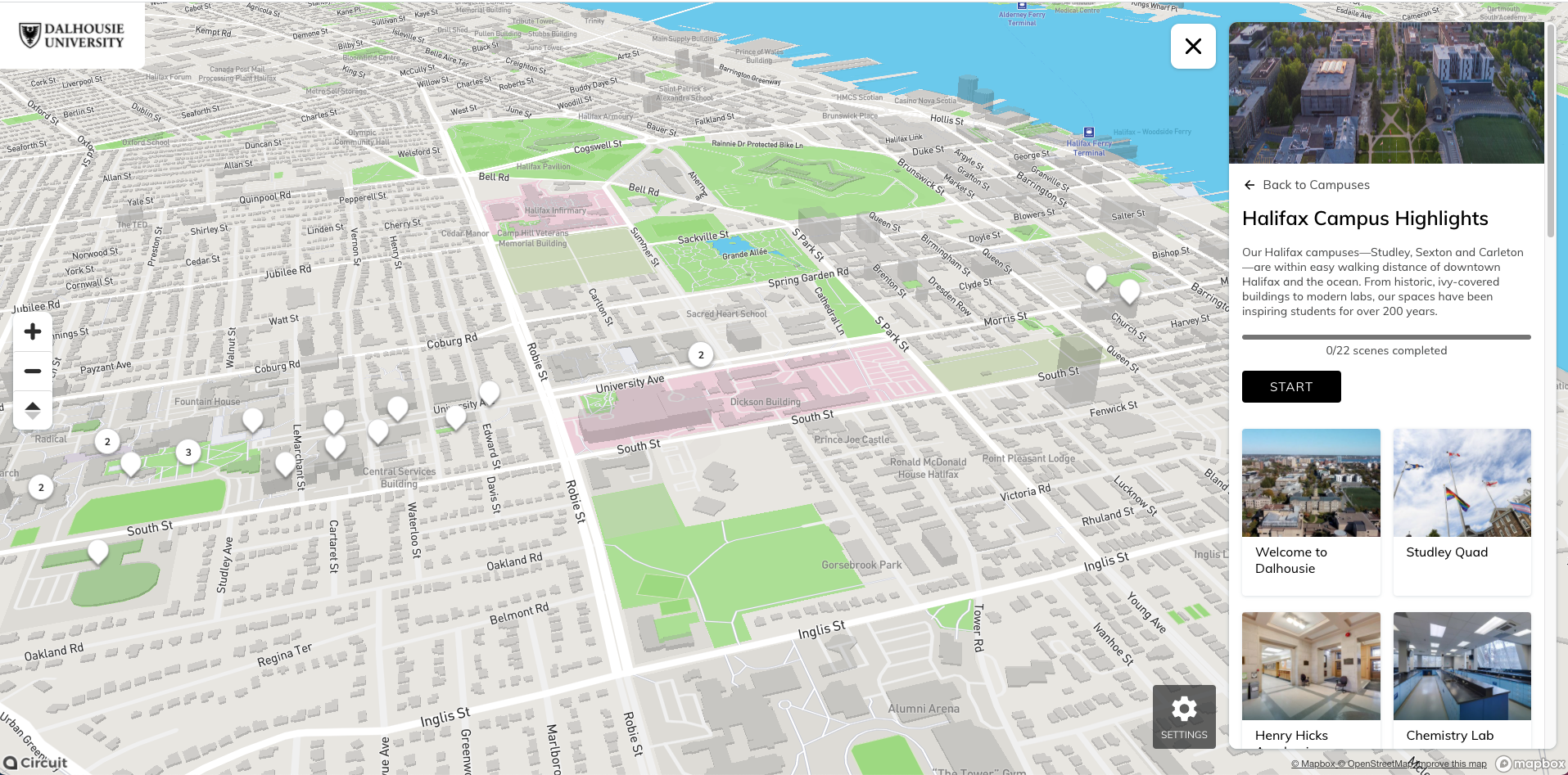 Screenshot from Dalhousie University's virtual tour. Map of Halifax with scenes from virtual tour plotted on it. Right hand side shows the tour menu.