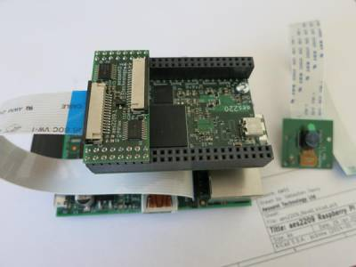 Raspberry Pi, USB-FPGA board, with camera on the side