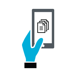 Icon of someone holding their mobile device and accessing documents