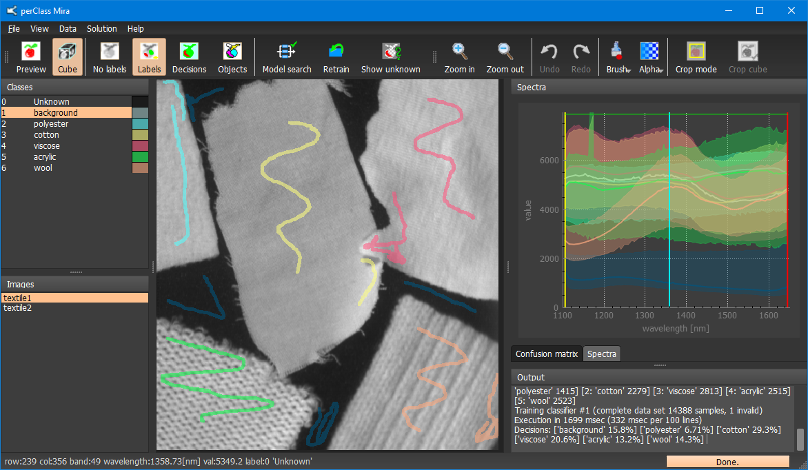 Spectral image of dark plastics acquired using Imec SNAPSCAN camera in SWIR range