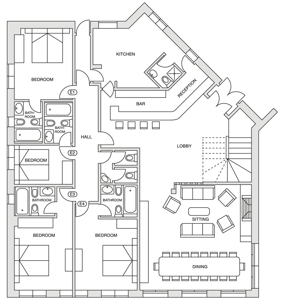 Eira Ski Lodge ground floor plan