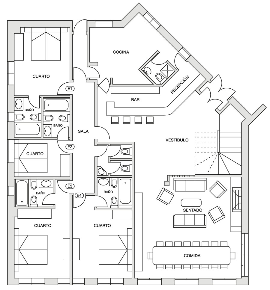 Eira Ski Lodge ground floor plan