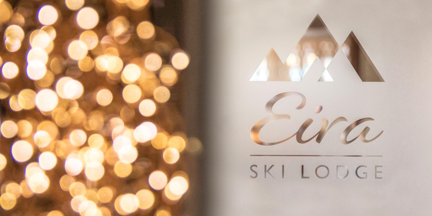 Eira Ski Lodge logo on glass door