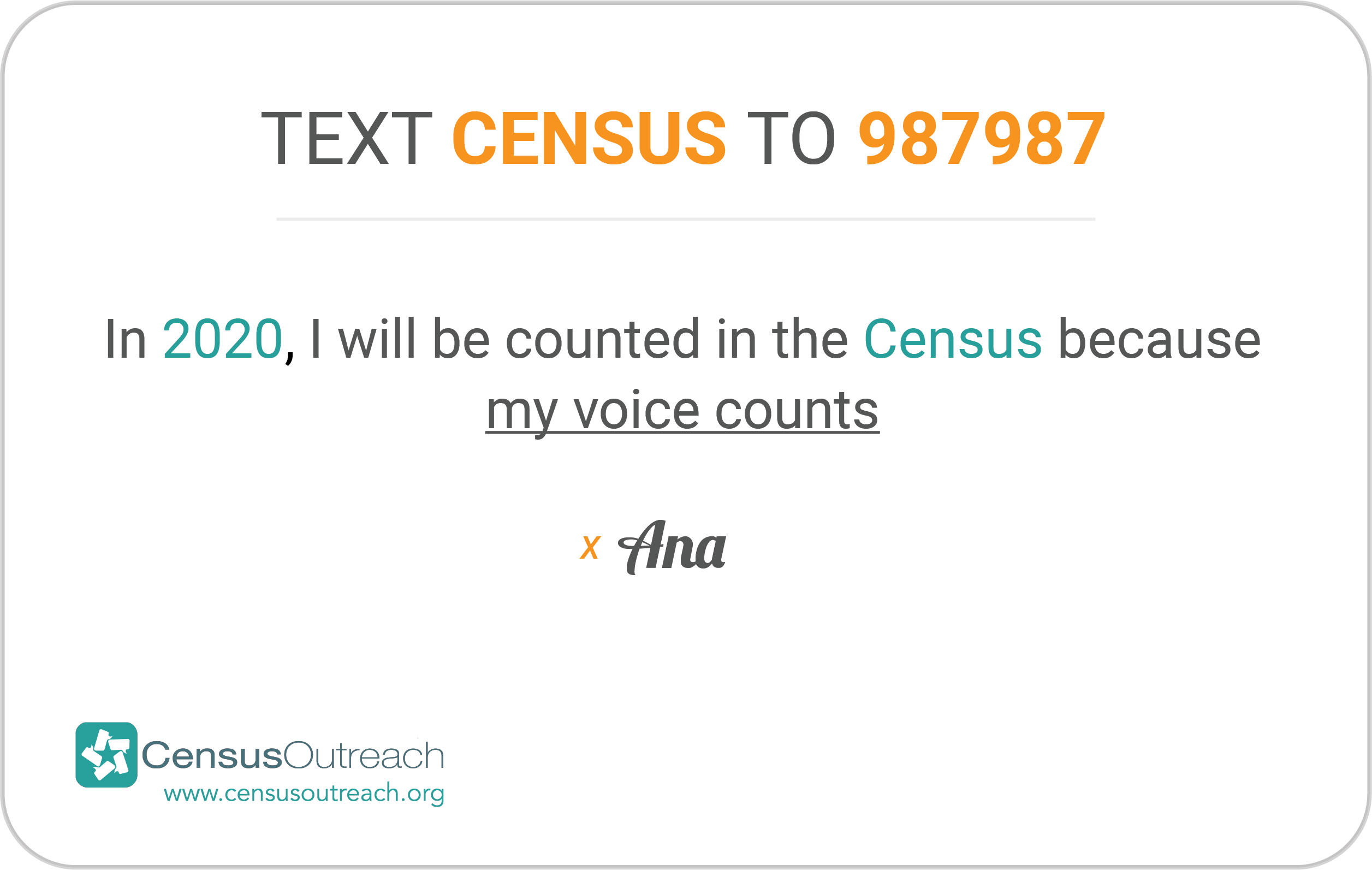 """2020 Pledge Card """"Text Census to 987987"""""""