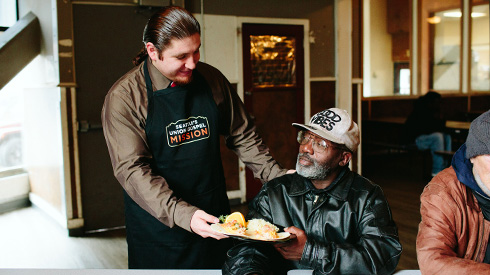 Seattle's Union Gospel Mission employees serve the homeless.