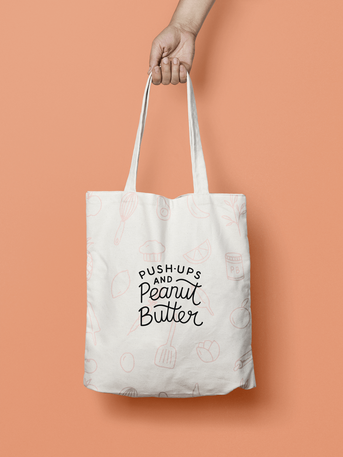Push-ups and Peanut Butter tote bag design
