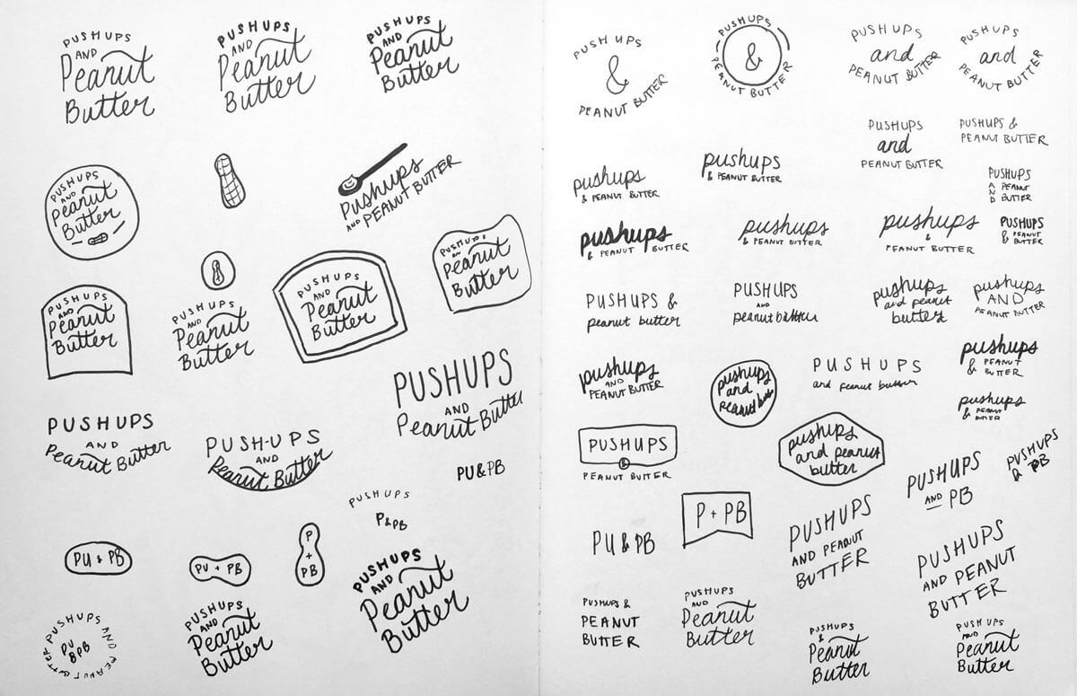 Push-ups and Peanut Butter logo sketches