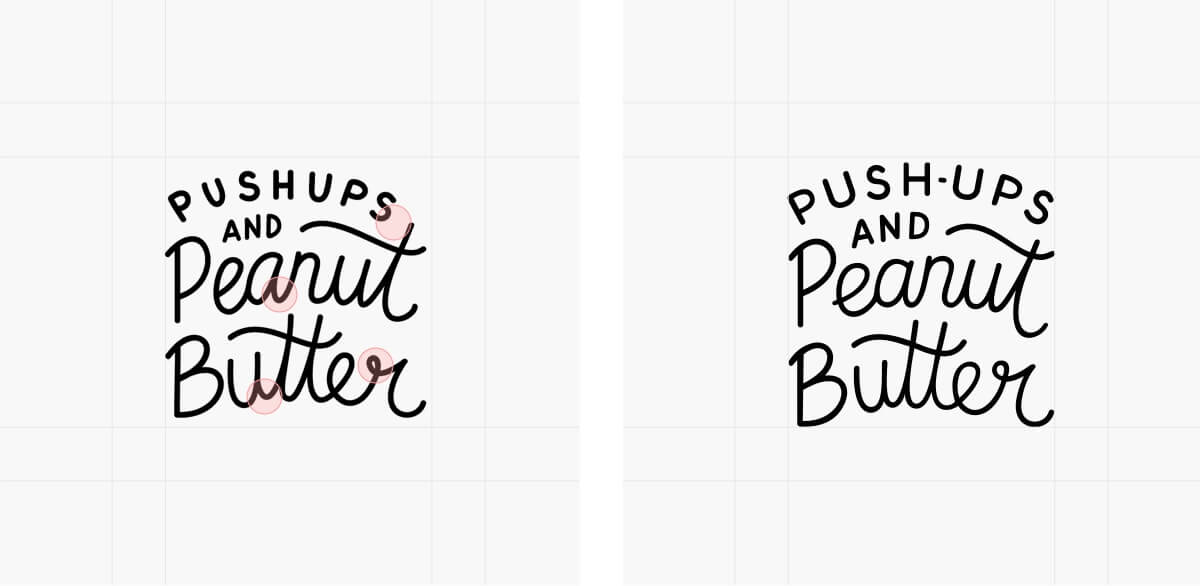 Push-ups and Peanut Butter logo refinements