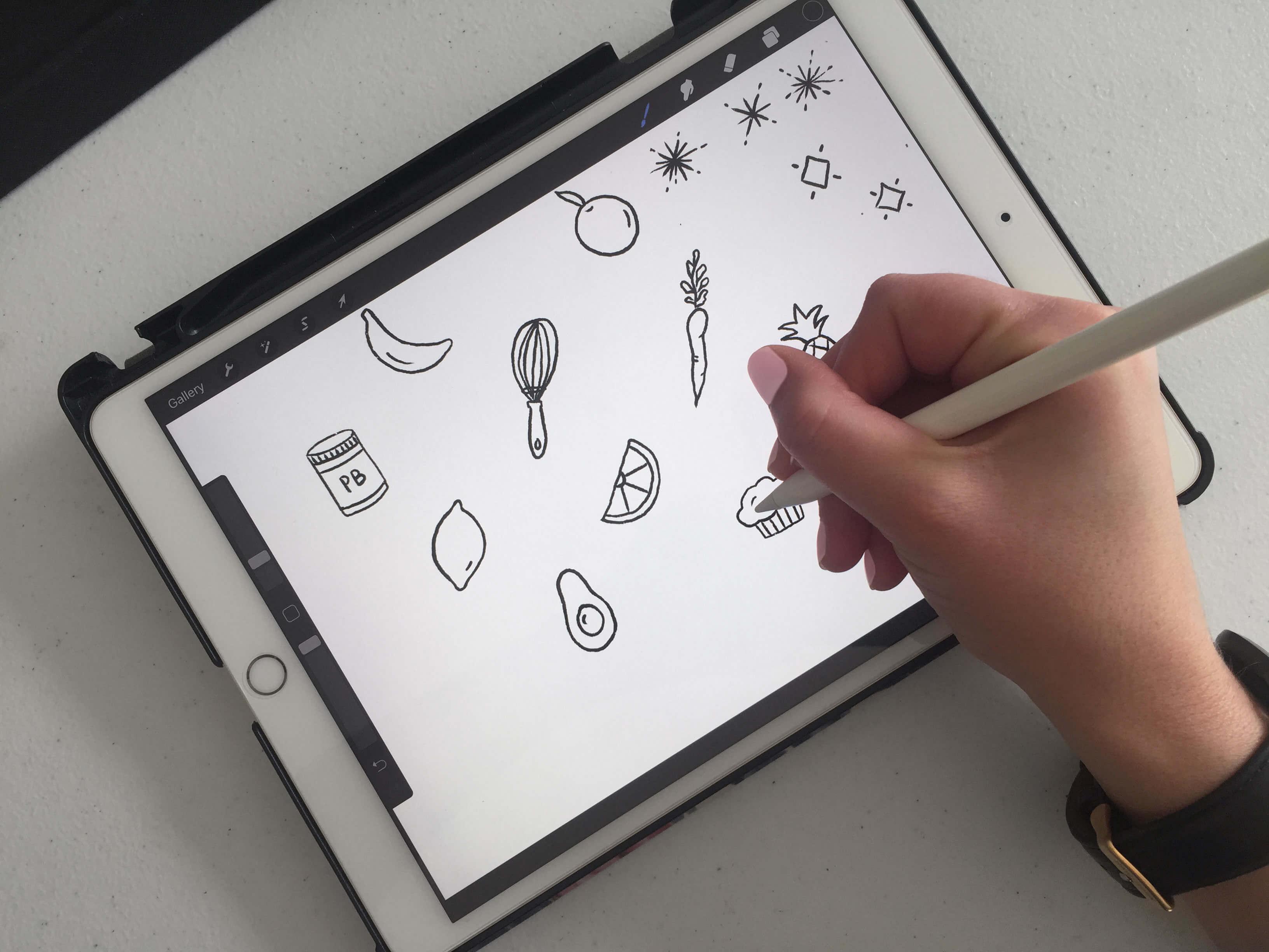 Push-ups and Peanut Butter iPad illustrations