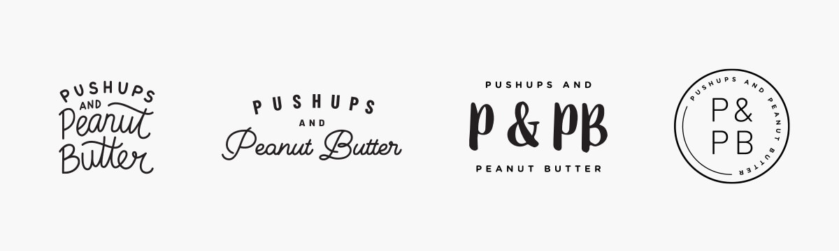 Push-ups and Peanut Butter logo variations