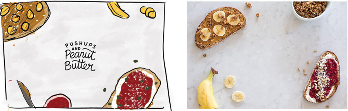 Push-ups and Peanut Butter photography creative direction