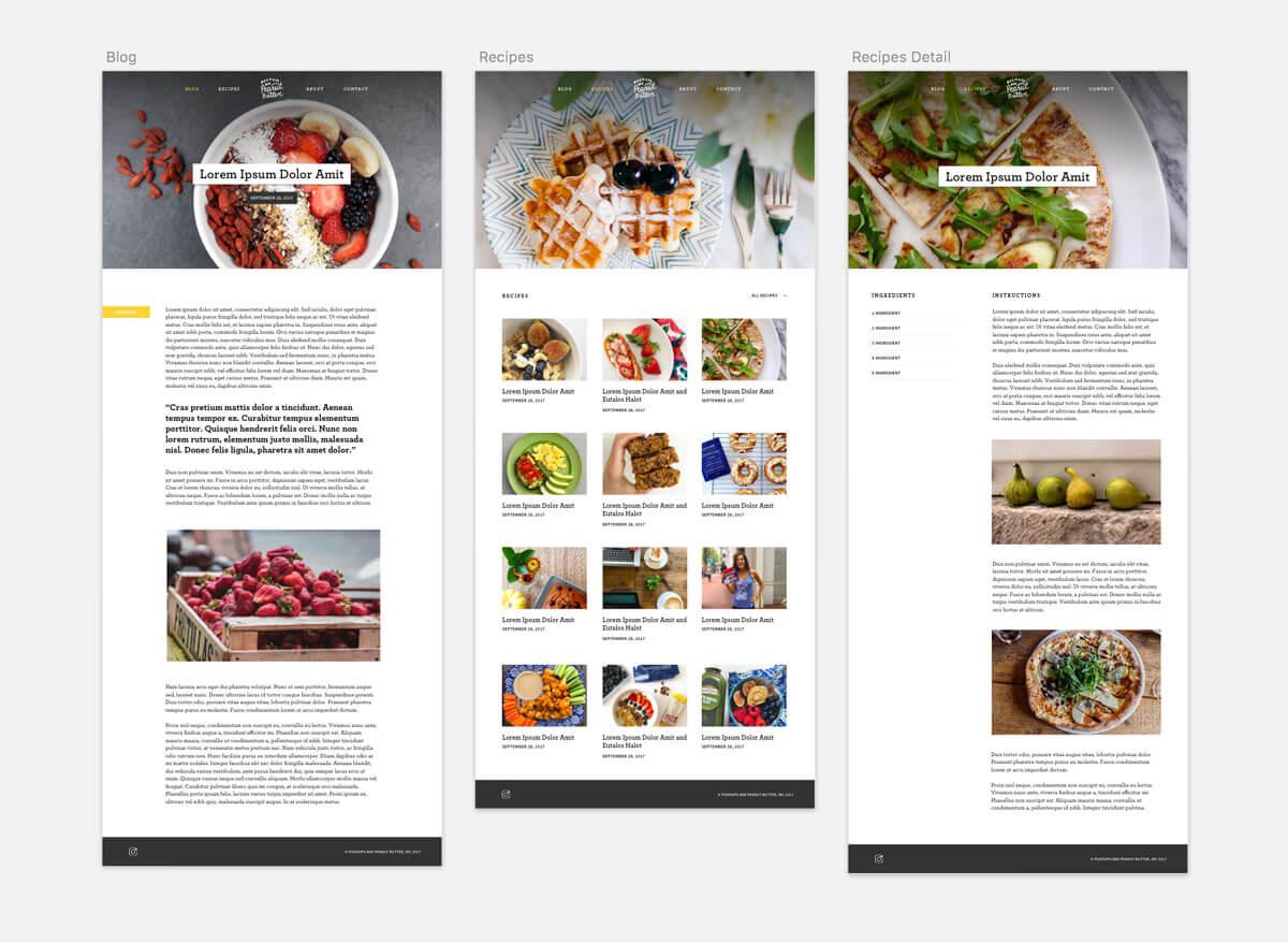 Push-ups and Peanut Butter web design