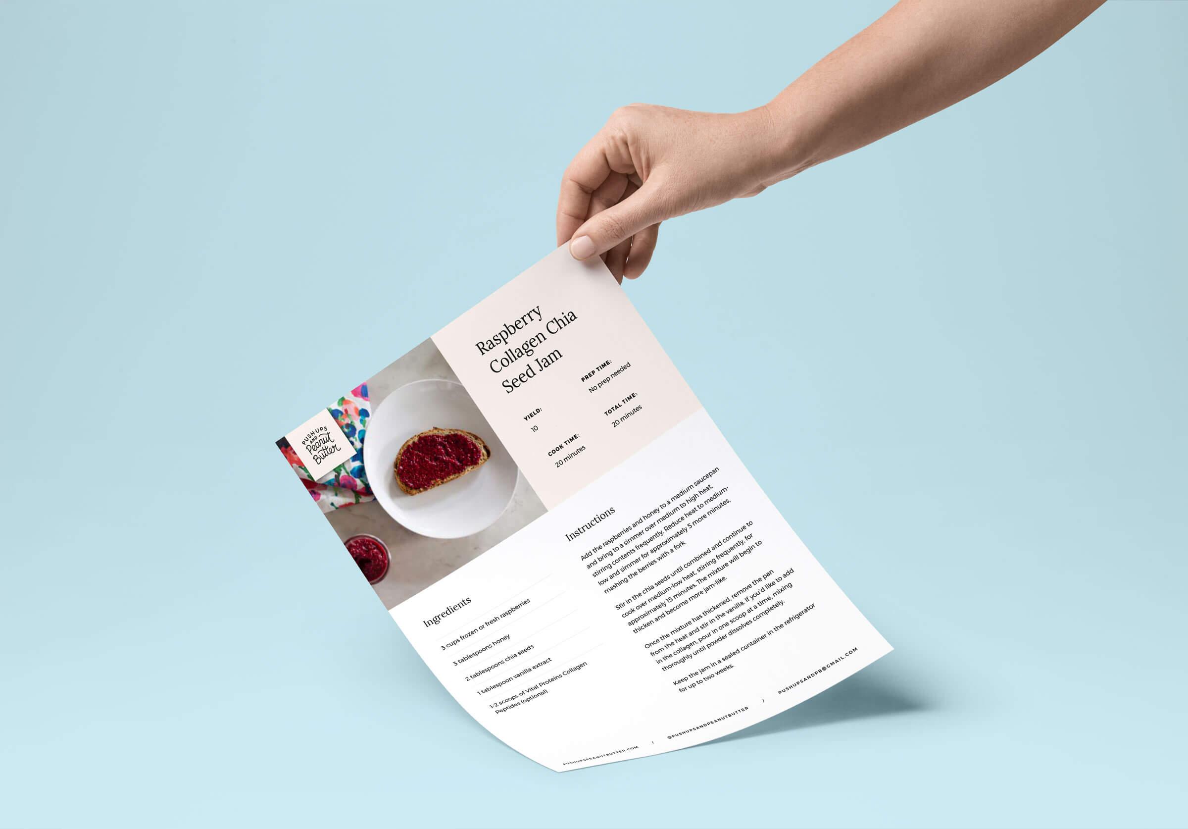 Push-ups and Peanut Butter print design recipe