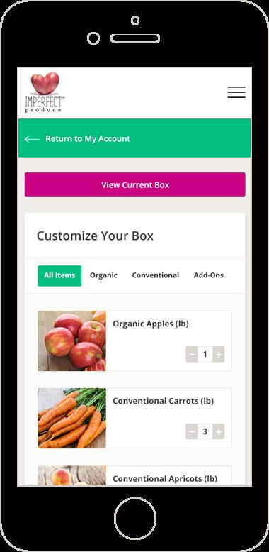 Imperfect Produce mobile web design