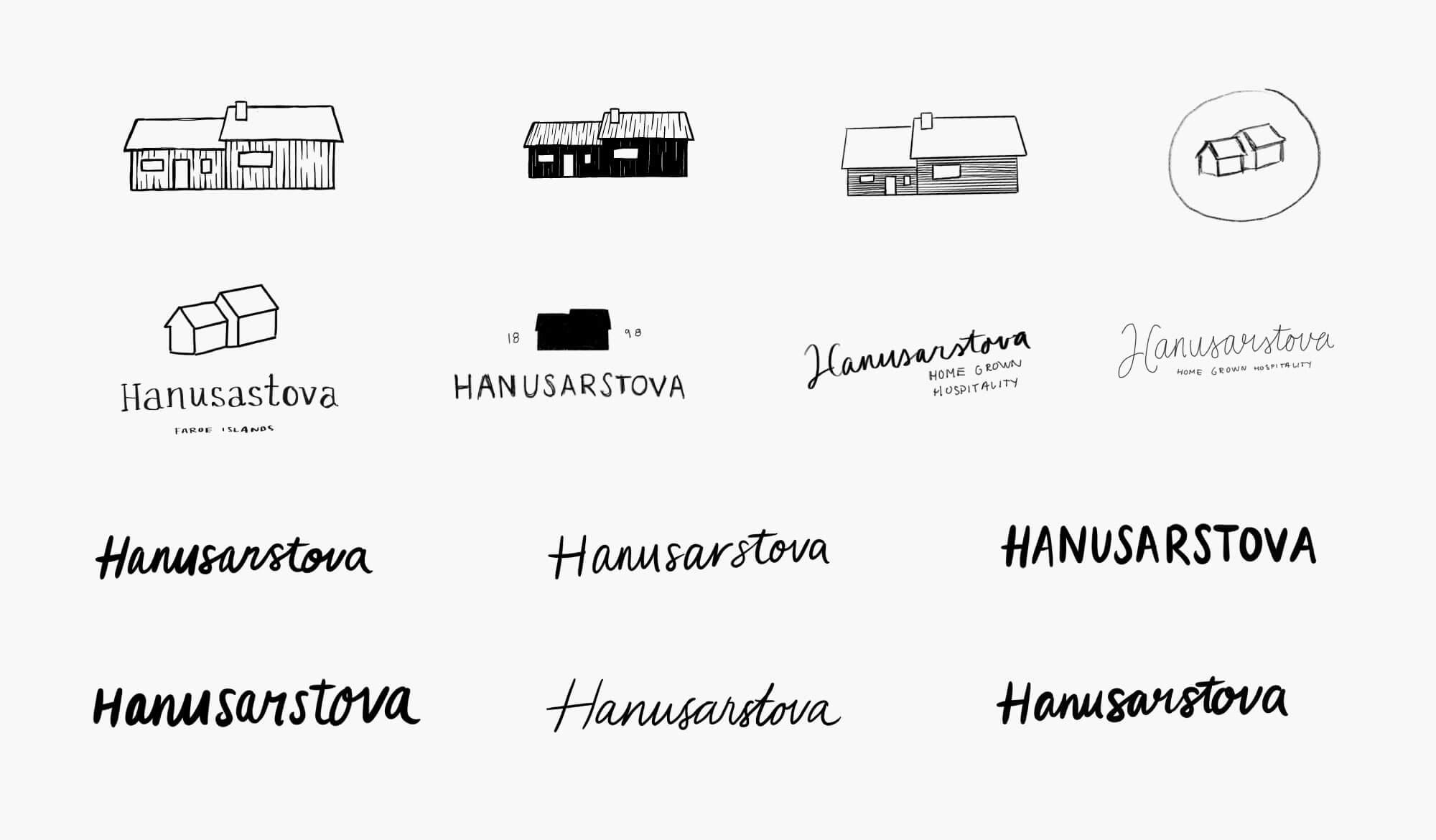Hanusarstova logo sketches