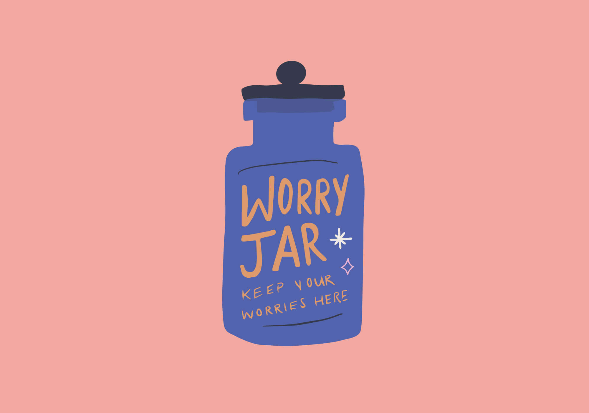May Leaves Stars worry jar illustration