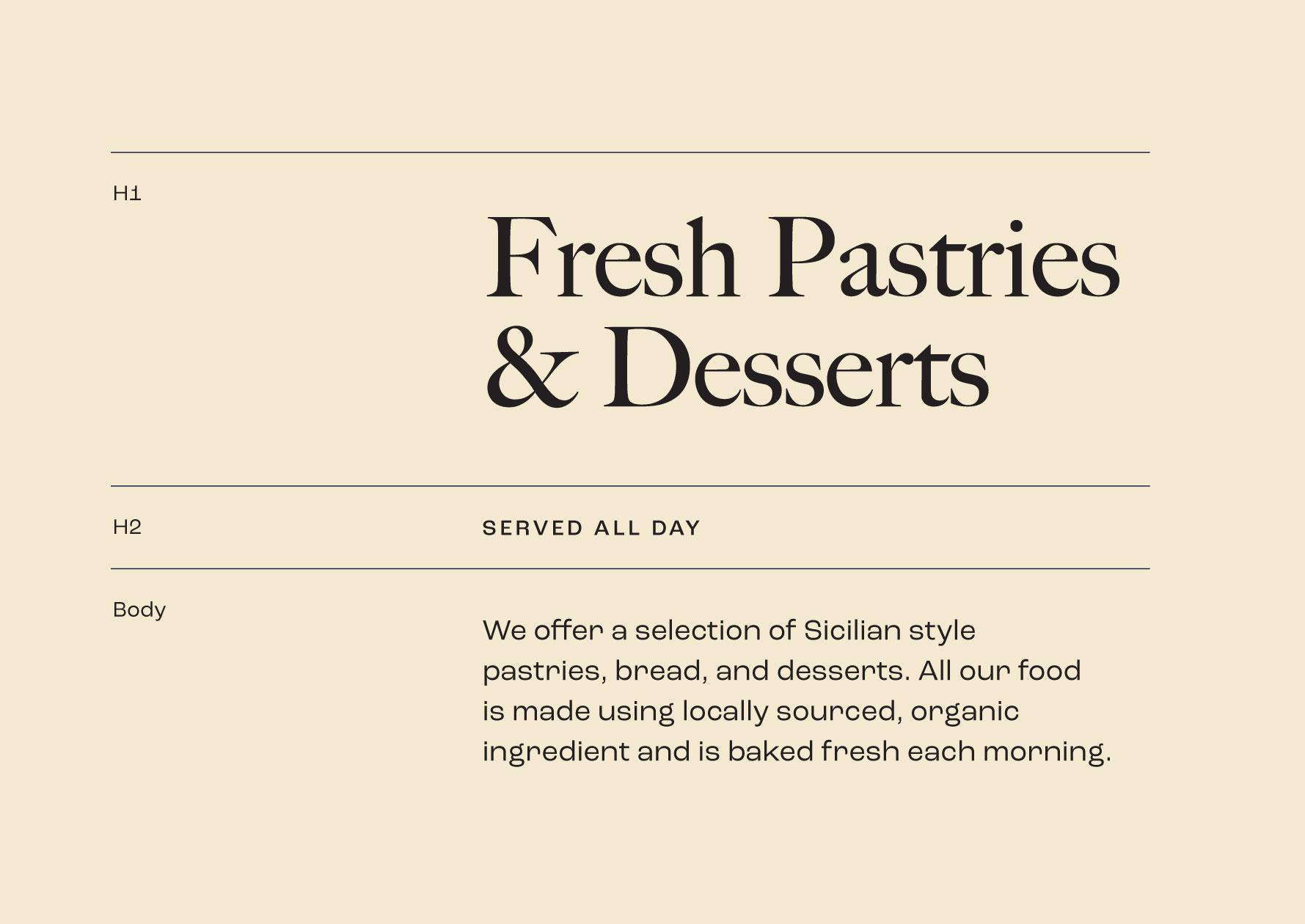 Messina Bakery & Cafe typography