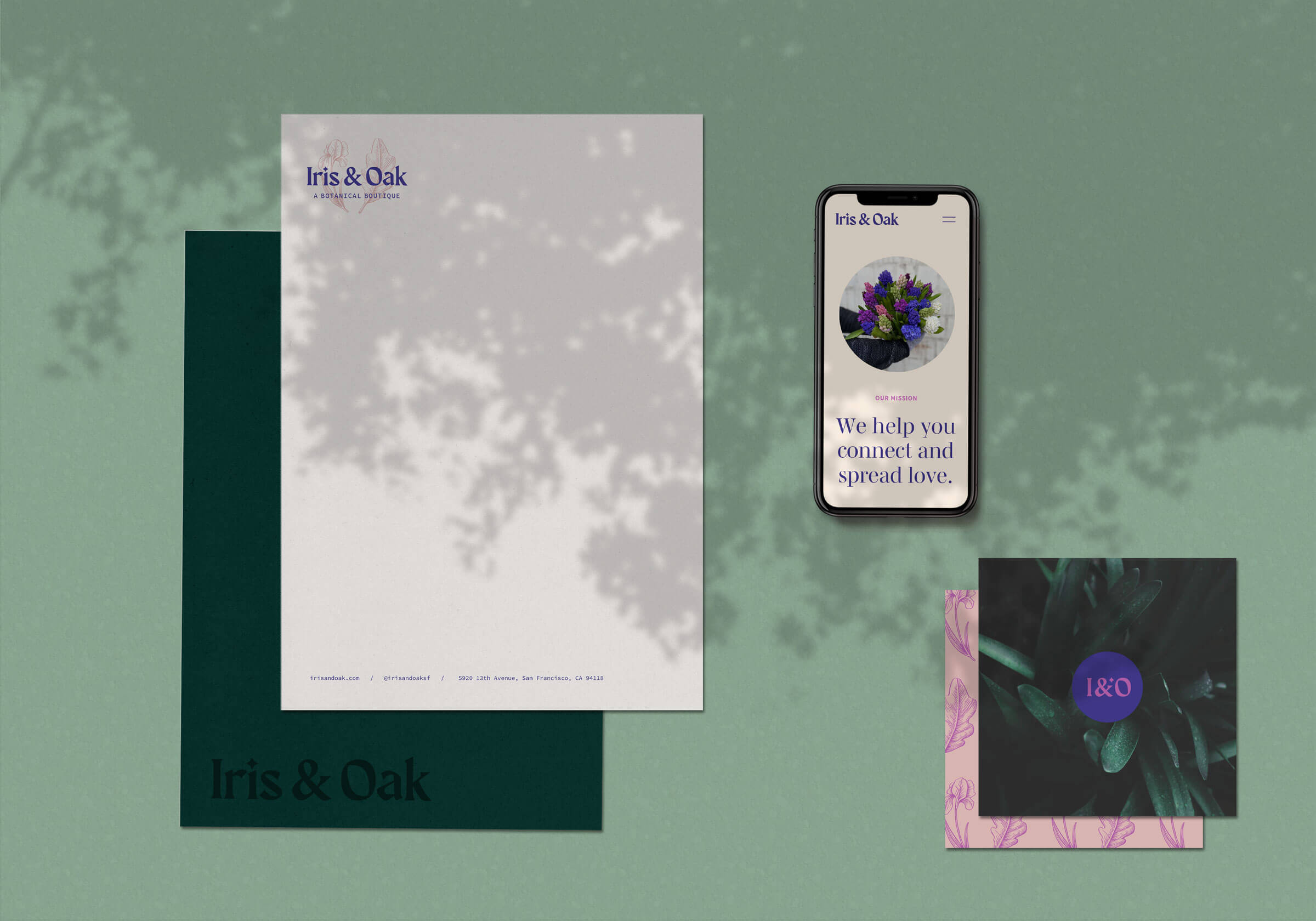 Iris & Oak stationery and mobile web design