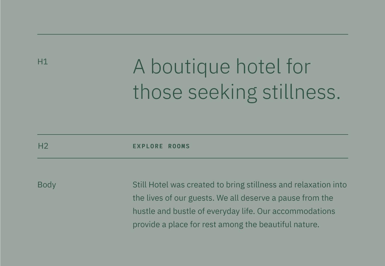Still Hotel typography